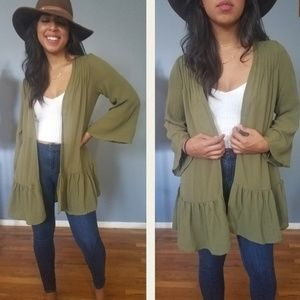 Sweaters - IT'S GOOD TO BE OLIVE  GREEN RUFFLE CARDIGAN